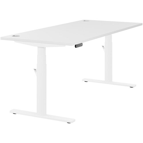 LEAP Electric Height Adjustable Rectangular Sit Stand Desk Portal Top W1800xD800xH620-1270mm White Top White Frame. Prevents &Reduces Muscle &Back Problems, Heart Risks &Increases Brain Activity.