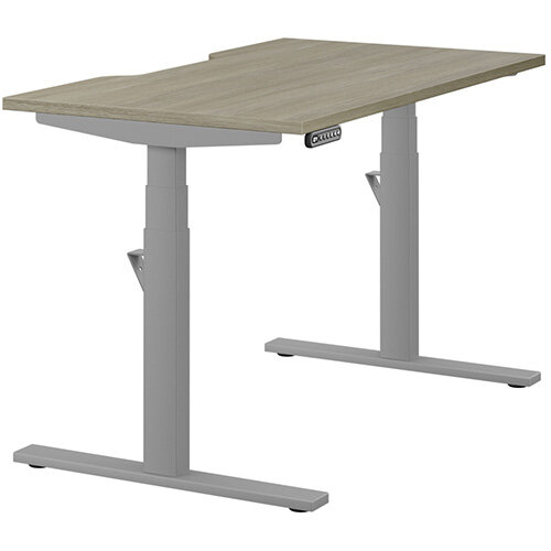 LEAP Electric Height Adjustable Rectangular Sit Stand Desk Scallop Top W1200xD700xH620-1270mm Arctic Oak Top Silver Frame. Prevents &Reduces Muscle &Back Problems, Heart Risks &Increases Brain Activity.
