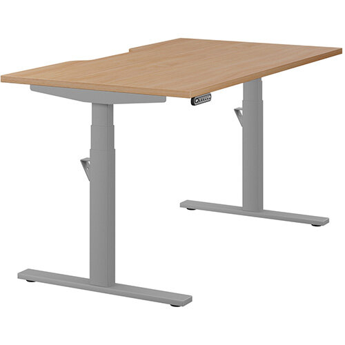 LEAP Electric Height Adjustable Rectangular Sit Stand Desk Scallop Top W1400xD800xH620-1270mm Beech Top Silver Frame. Prevents & Reduces Muscle & Back Problems, Heart Risks & Increases Brain Activity.