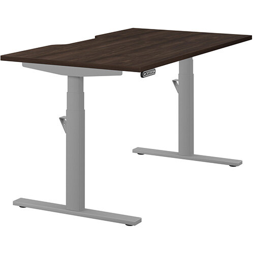 LEAP Electric Height Adjustable Rectangular Sit Stand Desk Scallop Top W1400xD800xH620-1270mm Dark Walnut Top Silver Frame. Prevents & Reduces Muscle & Back Problems, Heart Risks & Increases Brain Activity.