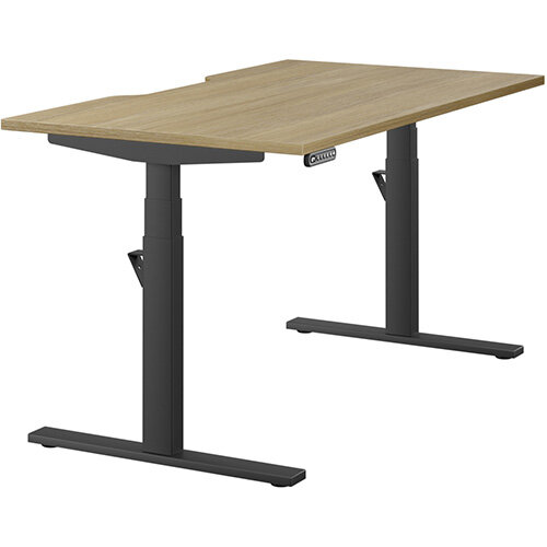 LEAP Electric Height Adjustable Rectangular Sit Stand Desk Scallop Top W1400xD800xH620-1270mm Urban Oak Top Black Frame. Prevents &Reduces Muscle &Back Problems, Heart Risks &Increases Brain Activity.
