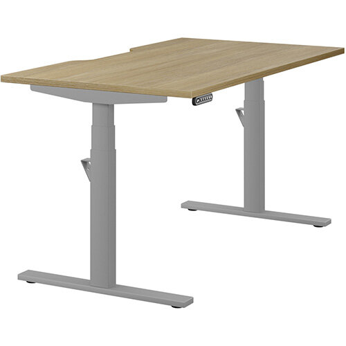 LEAP Electric Height Adjustable Rectangular Sit Stand Desk Scallop Top W1400xD800xH620-1270mm Urban Oak Top Silver Frame. Prevents &Reduces Muscle &Back Problems, Heart Risks &Increases Brain Activity.