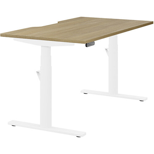 LEAP Electric Height Adjustable Rectangular Sit Stand Desk Scallop Top W1400xD800xH620-1270mm Urban Oak Top White Frame. Prevents &Reduces Muscle &Back Problems, Heart Risks &Increases Brain Activity.