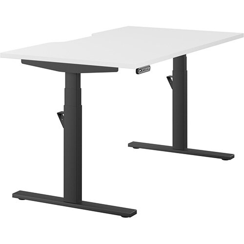LEAP Electric Height Adjustable Rectangular Sit Stand Desk Scallop Top W1400xD800xH620-1270mm White Top Black Frame. Prevents &Reduces Muscle &Back Problems, Heart Risks &Increases Brain Activity.
