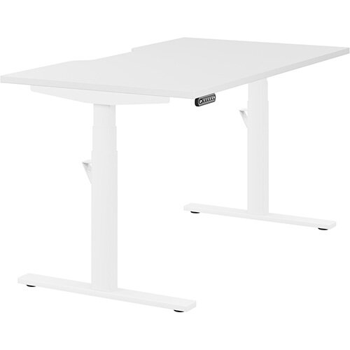 LEAP Electric Height Adjustable Rectangular Sit Stand Desk Scallop Top W1400xD800xH620-1270mm White Top White Frame. Prevents &Reduces Muscle &Back Problems, Heart Risks &Increases Brain Activity.