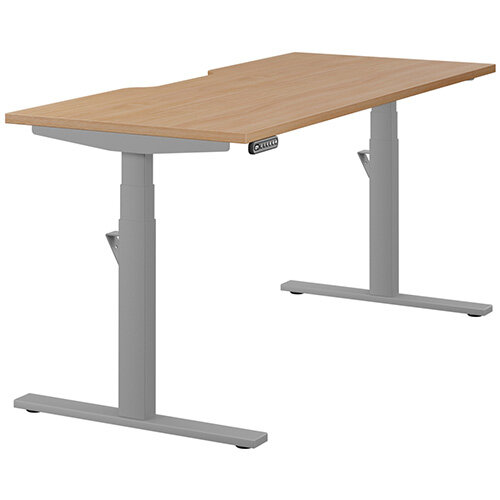 LEAP Electric Height Adjustable Rectangular Sit Stand Desk Scallop Top W1600xD700xH620-1270mm Beech Top Silver Frame. Prevents & Reduces Muscle & Back Problems, Heart Risks & Increases Brain Activity.