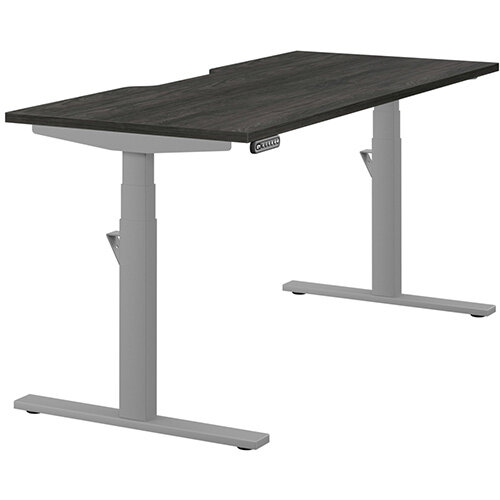 LEAP Electric Height Adjustable Rectangular Sit Stand Desk Scallop Top W1600xD700xH620-1270mm Carbon Walnut Top Silver Frame. Prevents & Reduces Muscle & Back Problems, Heart Risks & Increases Brain Activity.