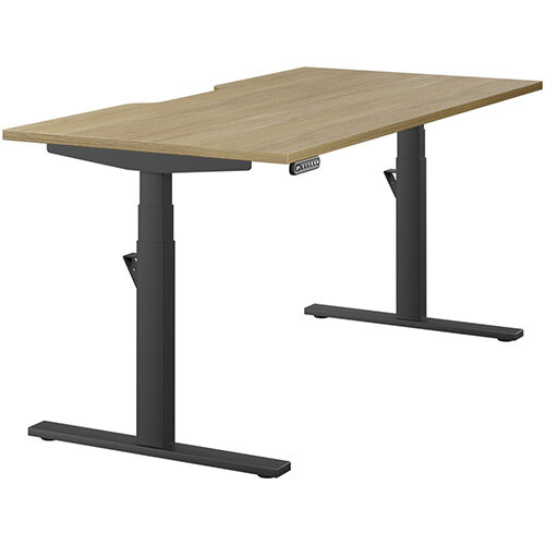 LEAP Electric Height Adjustable Rectangular Sit Stand Desk Scallop Top W1600xD800xH620-1270mm Urban Oak Top Black Frame. Prevents &Reduces Muscle &Back Problems, Heart Risks &Increases Brain Activity.