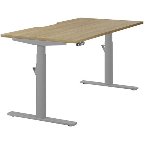 LEAP Electric Height Adjustable Rectangular Sit Stand Desk Scallop Top W1600xD800xH620-1270mm Urban Oak Top Silver Frame. Prevents &Reduces Muscle &Back Problems, Heart Risks &Increases Brain Activity.