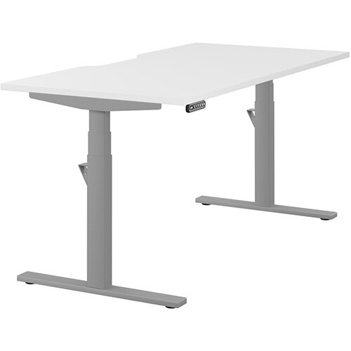LEAP Electric Height Adjustable Rectangular Sit Stand Desk Scallop Top W1600xD800xH620-1270mm White Top Silver Frame. Prevents &Reduces Muscle &Back Problems, Heart Risks &Increases Brain Activity.