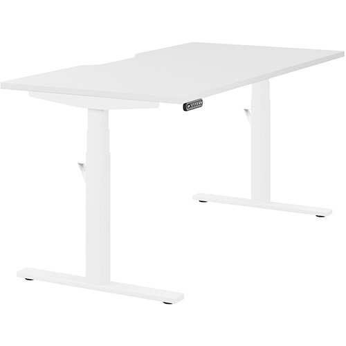 LEAP Electric Height Adjustable Rectangular Sit Stand Desk Scallop Top W1600xD800xH620-1270mm White Top White Frame. Prevents &Reduces Muscle &Back Problems, Heart Risks &Increases Brain Activity.