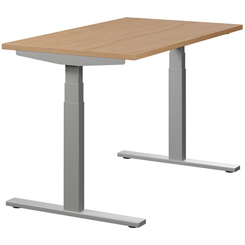 LEAP Electric Height Adjustable Rectangular Sit Stand Desk Plain Top W1200xD700xH620-1270mm Beech Top Silver Frame. Prevents &Reduces Muscle &Back Problems, Heart Risks &Increases Brain Activity.