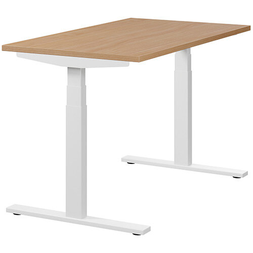 LEAP Electric Height Adjustable Rectangular Sit Stand Desk Plain Top W1200xD700xH620-1270mm Beech Top White Frame. Prevents &Reduces Muscle &Back Problems, Heart Risks &Increases Brain Activity.
