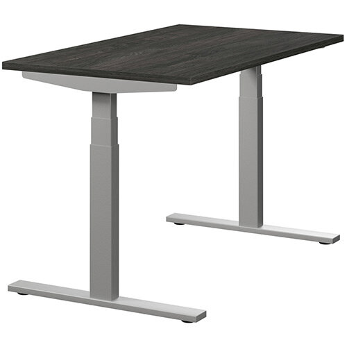 LEAP Electric Height Adjustable Rectangular Sit Stand Desk Plain Top W1200xD700xH620-1270mm Carbon Walnut Top Silver Frame. Prevents &Reduces Muscle &Back Problems, Heart Risks &Increases Brain Activity.