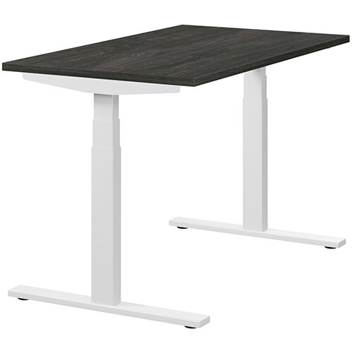 LEAP Electric Height Adjustable Rectangular Sit Stand Desk Plain Top W1200xD700xH620-1270mm Carbon Walnut Top White Frame. Prevents &Reduces Muscle &Back Problems, Heart Risks &Increases Brain Activity.
