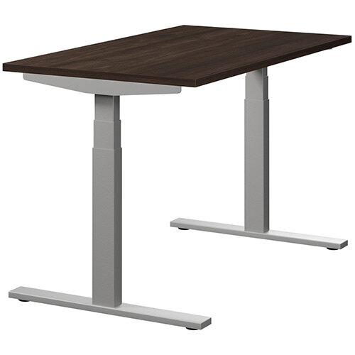LEAP Electric Height Adjustable Rectangular Sit Stand Desk Plain Top W1200xD700xH620-1270mm Dark Walnut Top Silver Frame. Prevents &Reduces Muscle &Back Problems, Heart Risks &Increases Brain Activity.
