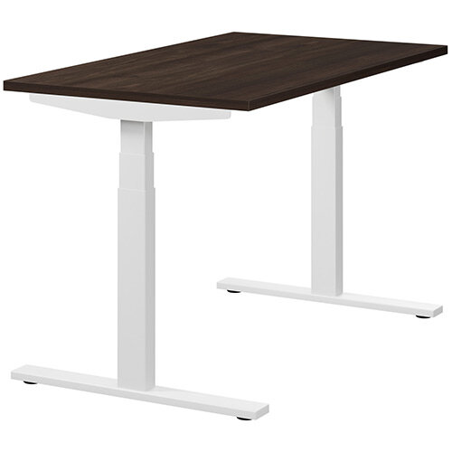 LEAP Electric Height Adjustable Rectangular Sit Stand Desk Plain Top W1200xD700xH620-1270mm Dark Walnut Top White Frame. Prevents &Reduces Muscle &Back Problems, Heart Risks &Increases Brain Activity.