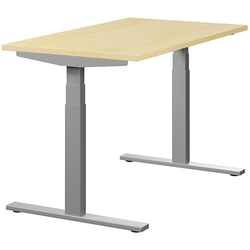 LEAP Electric Height Adjustable Rectangular Sit Stand Desk Plain Top W1200xD700xH620-1270mm Maple Top Silver Frame. Prevents &Reduces Muscle &Back Problems, Heart Risks &Increases Brain Activity.