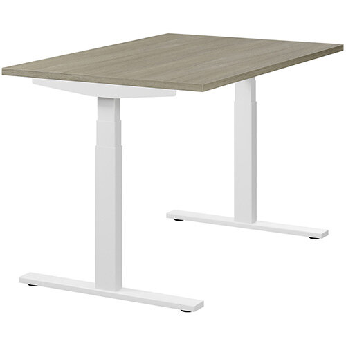 LEAP Electric Height Adjustable Rectangular Sit Stand Desk Plain Top W1200xD800xH620-1270mm Arctic Oak Top White Frame. Prevents &Reduces Muscle &Back Problems, Heart Risks &Increases Brain Activity.