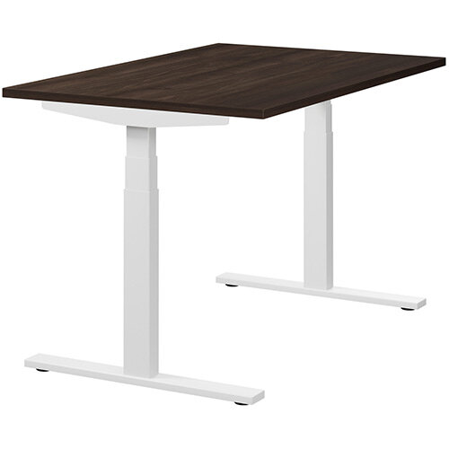 LEAP Electric Height Adjustable Rectangular Sit Stand Desk Plain Top W1200xD800xH620-1270mm Dark Walnut Top White Frame. Prevents &Reduces Muscle &Back Problems, Heart Risks &Increases Brain Activity.