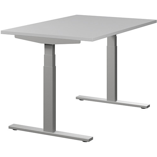 LEAP Electric Height Adjustable Rectangular Sit Stand Desk Plain Top W1200xD800xH620-1270mm Grey Top Silver Frame. Prevents &Reduces Muscle &Back Problems, Heart Risks &Increases Brain Activity.