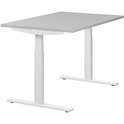 LEAP Electric Height Adjustable Rectangular Sit Stand Desk Plain Top W1200xD800xH620-1270mm Grey Top White Frame. Prevents &Reduces Muscle &Back Problems, Heart Risks &Increases Brain Activity.