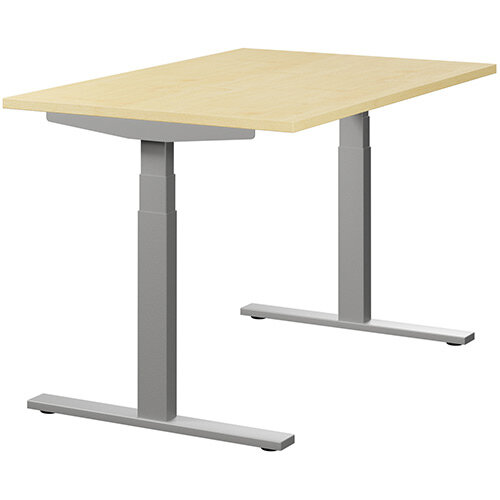 LEAP Electric Height Adjustable Rectangular Sit Stand Desk Plain Top W1200xD800xH620-1270mm Maple Top Silver Frame. Prevents &Reduces Muscle &Back Problems, Heart Risks &Increases Brain Activity.