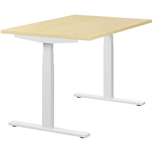 LEAP Electric Height Adjustable Rectangular Sit Stand Desk Plain Top W1200xD800xH620-1270mm Maple Top White Frame. Prevents &Reduces Muscle &Back Problems, Heart Risks &Increases Brain Activity.