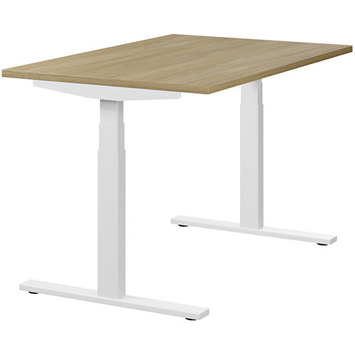LEAP Electric Height Adjustable Rectangular Sit Stand Desk Plain Top W1200xD800xH620-1270mm Urban Oak Top White Frame. Prevents &Reduces Muscle &Back Problems, Heart Risks &Increases Brain Activity.