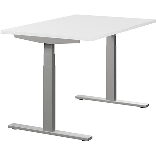LEAP Electric Height Adjustable Rectangular Sit Stand Desk Plain Top W1200xD800xH620-1270mm White Top Silver Frame. Prevents &Reduces Muscle &Back Problems, Heart Risks &Increases Brain Activity.