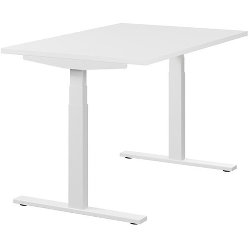 LEAP Electric Height Adjustable Rectangular Sit Stand Desk Plain Top W1200xD800xH620-1270mm White Top White Frame. Prevents &Reduces Muscle &Back Problems, Heart Risks &Increases Brain Activity.