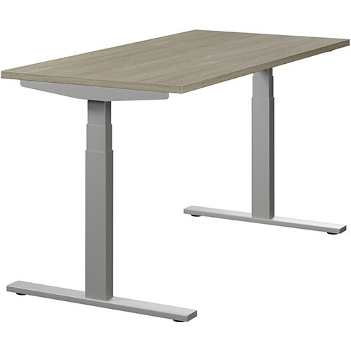 LEAP Electric Height Adjustable Rectangular Sit Stand Desk Plain Top W1400xD700xH620-1270mm Arctic Oak Top Silver Frame. Prevents &Reduces Muscle &Back Problems, Heart Risks &Increases Brain Activity.