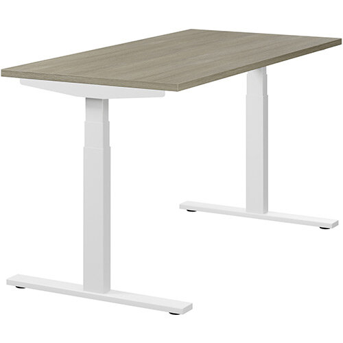 LEAP Electric Height Adjustable Rectangular Sit Stand Desk Plain Top W1400xD700xH620-1270mm Arctic Oak Top White Frame. Prevents &Reduces Muscle &Back Problems, Heart Risks &Increases Brain Activity.