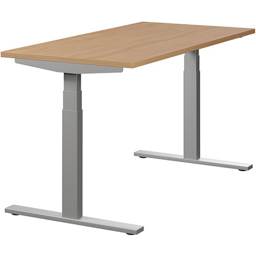LEAP Electric Height Adjustable Rectangular Sit Stand Desk Plain Top W1400xD700xH620-1270mm Beech Top Silver Frame. Prevents &Reduces Muscle &Back Problems, Heart Risks &Increases Brain Activity.