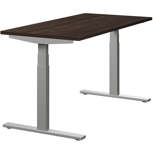 LEAP Electric Height Adjustable Rectangular Sit Stand Desk Plain Top W1400xD700xH620-1270mm Dark Walnut Top Silver Frame. Prevents &Reduces Muscle &Back Problems, Heart Risks &Increases Brain Activity.