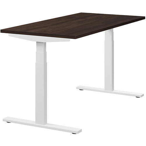 LEAP Electric Height Adjustable Rectangular Sit Stand Desk Plain Top W1400xD700xH620-1270mm Dark Walnut Top White Frame. Prevents &Reduces Muscle &Back Problems, Heart Risks &Increases Brain Activity.