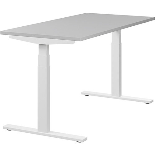 LEAP Electric Height Adjustable Rectangular Sit Stand Desk Plain Top W1400xD700xH620-1270mm Grey Top White Frame. Prevents &Reduces Muscle &Back Problems, Heart Risks &Increases Brain Activity.