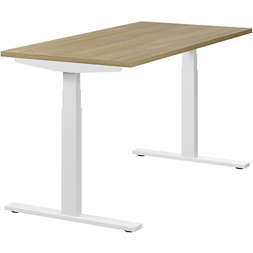 LEAP Electric Height Adjustable Rectangular Sit Stand Desk Plain Top W1400xD700xH620-1270mm Urban Oak Top White Frame. Prevents &Reduces Muscle &Back Problems, Heart Risks &Increases Brain Activity.