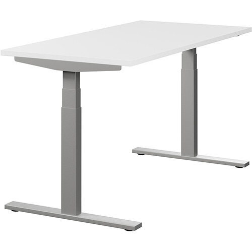 LEAP Electric Height Adjustable Rectangular Sit Stand Desk Plain Top W1400xD700xH620-1270mm White Top Silver Frame. Prevents &Reduces Muscle &Back Problems, Heart Risks &Increases Brain Activity.