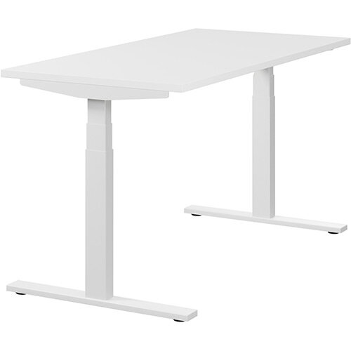 LEAP Electric Height Adjustable Rectangular Sit Stand Desk Plain Top W1400xD700xH620-1270mm White Top White Frame. Prevents &Reduces Muscle &Back Problems, Heart Risks &Increases Brain Activity.