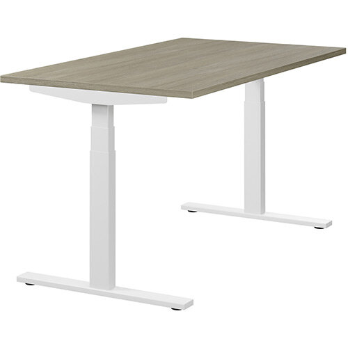 LEAP Electric Height Adjustable Rectangular Sit Stand Desk Plain Top W1400xD800xH620-1270mm Arctic Oak Top White Frame. Prevents &Reduces Muscle &Back Problems, Heart Risks &Increases Brain Activity.