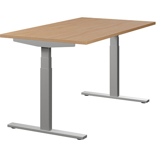 LEAP Electric Height Adjustable Rectangular Sit Stand Desk Plain Top W1400xD800xH620-1270mm Beech Top Silver Frame. Prevents &Reduces Muscle &Back Problems, Heart Risks &Increases Brain Activity.