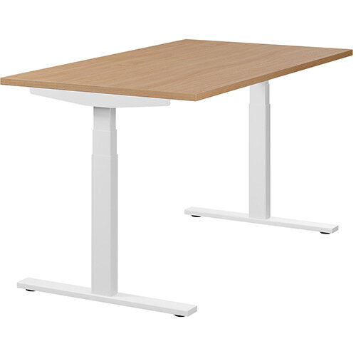 LEAP Electric Height Adjustable Rectangular Sit Stand Desk Plain Top W1400xD800xH620-1270mm Beech Top White Frame. Prevents &Reduces Muscle &Back Problems, Heart Risks &Increases Brain Activity.