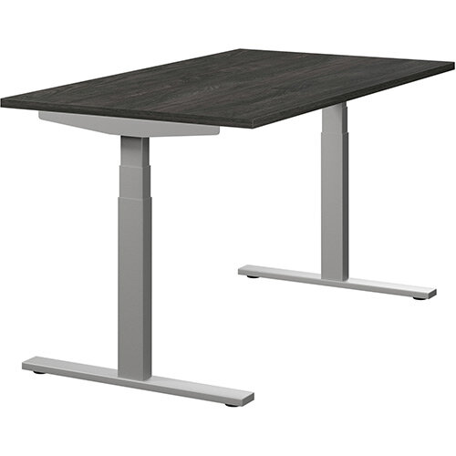 LEAP Electric Height Adjustable Rectangular Sit Stand Desk Plain Top W1400xD800xH620-1270mm Carbon Walnut Top Silver Frame. Prevents &Reduces Muscle &Back Problems, Heart Risks &Increases Brain Activity.