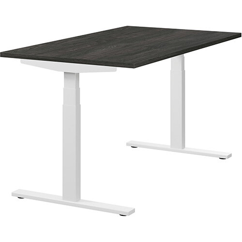 LEAP Electric Height Adjustable Sit Stand Desk Plain Top W1400xD800xH655-1255mm Carbon Walnut Top White Frame