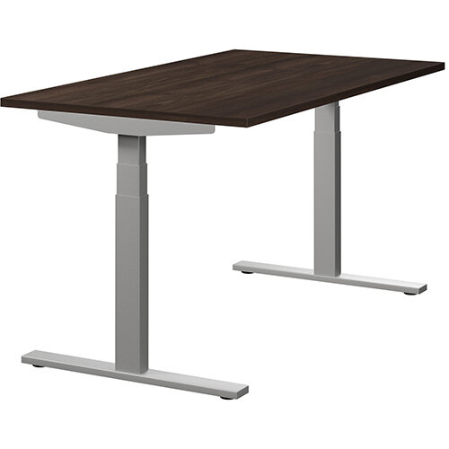 LEAP Electric Height Adjustable Sit Stand Desk Plain Top W1400xD800xH655-1255mm Dark Walnut Top Silver Frame
