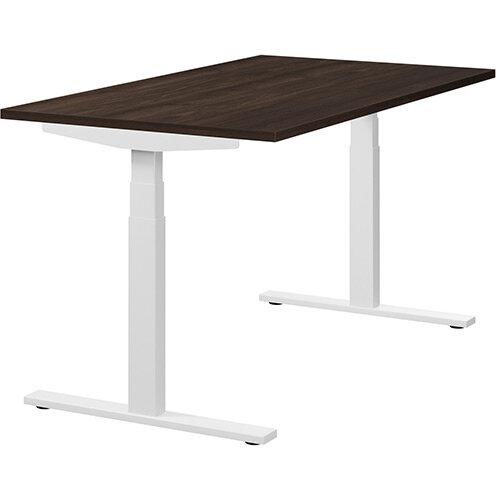 LEAP Electric Height Adjustable Sit Stand Desk Plain Top W1400xD800xH655-1255mm Dark Walnut Top White Frame