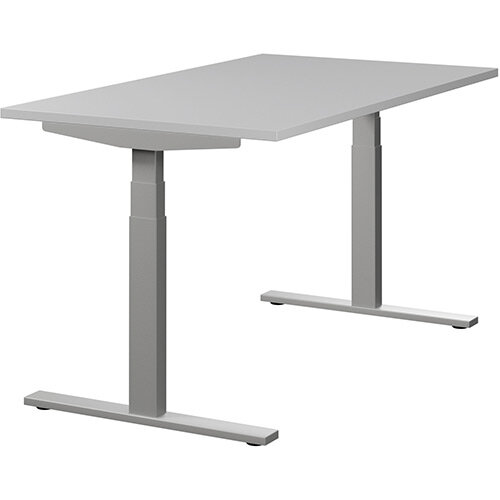 LEAP Electric Height Adjustable Sit Stand Desk Plain Top W1400xD800xH655-1255mm Grey Top Silver Frame