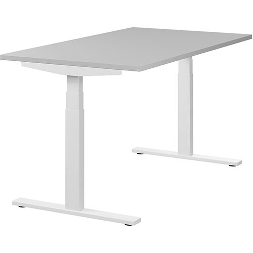 LEAP Electric Height Adjustable Sit Stand Desk Plain Top W1400xD800xH655-1255mm Grey Top White Frame