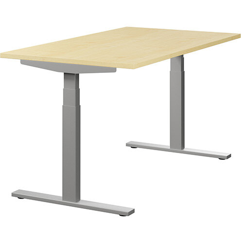 LEAP Electric Height Adjustable Sit Stand Desk Plain Top W1400xD800xH655-1255mm Maple Top Silver Frame